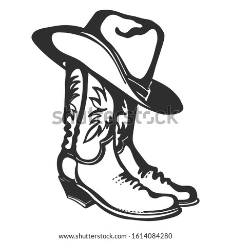 Cowboy boots and hat. Vector graphic hand drawn illustration isolated on white for print or design Foto stock ©