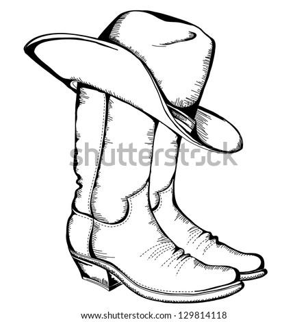 cowboy boots and hatvector