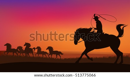 cowboy chasing the herd of wild