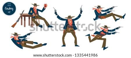 Cowboy design concept with flat human character of various persons in different situations with cartoon pictograms vector illustration