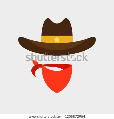 cowboy hat and scarf flat icon