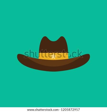cowboy hat flat icon isolated