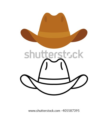 Cowboy hat icon. Two variants, flat color and line icon. Simple cartoon hat illustration.