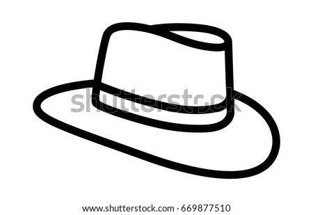596200f3ae9540 Cowboy hat or country stetson hat line art vector icon for apps and websites