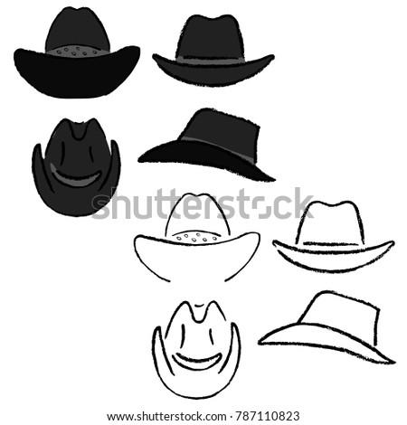 a96b70de44b Cowboy hat outlined oil pastel template sketch (front