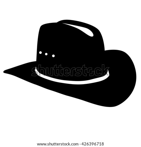 cowboy hat silhouette on white background Stock photo ©