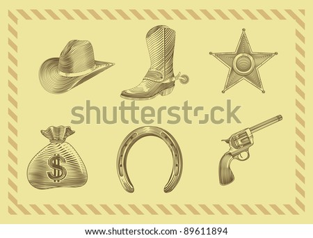 cowboy icon set in engraving style - vector illustration