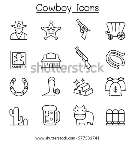 cowboy icons set in thin line