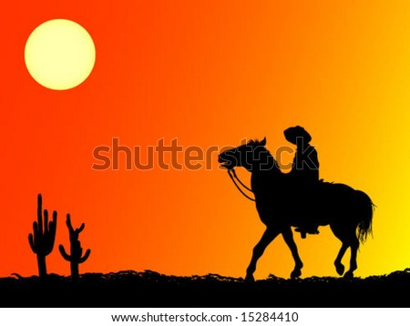 cowboy in desert - stock vector