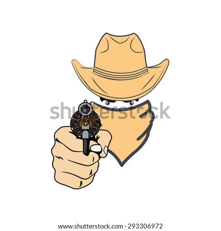 cowboy in hat with guns vector