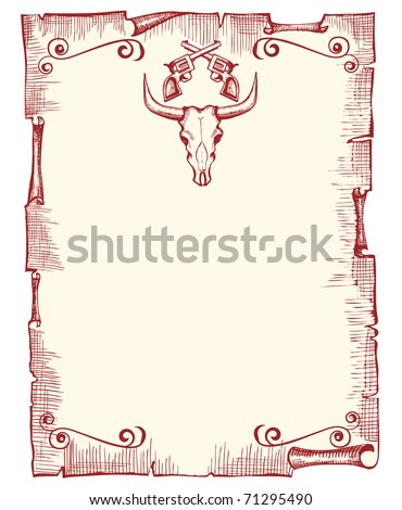 Cowboy old papaer background for text with bull skull and guns.Vector vintage image