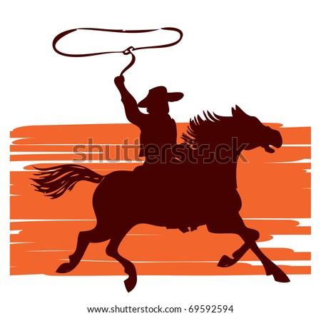 Cowboy on horse with lasso.vector graphic