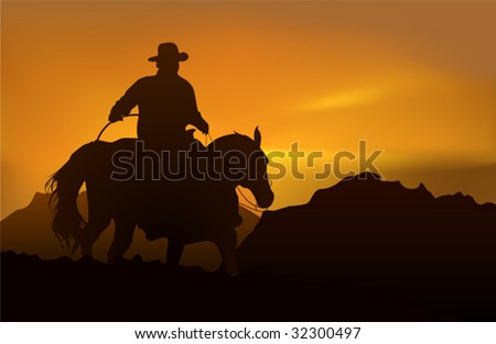 cowboy over realistic mountains