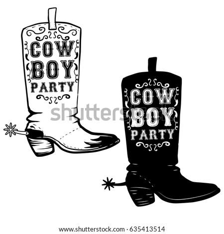 cowboy party. hand drawn cowboy ...