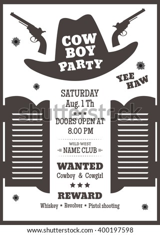 cowboy party poster or