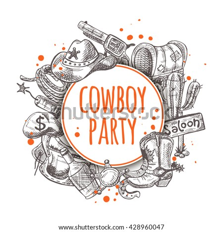 Cowboy party. Seamless pattern with cowboy stuff. Hand drawn vector illustration.  and other. Wagon, boots, saloon, cactus, lasso, gun, bottle and other elements.