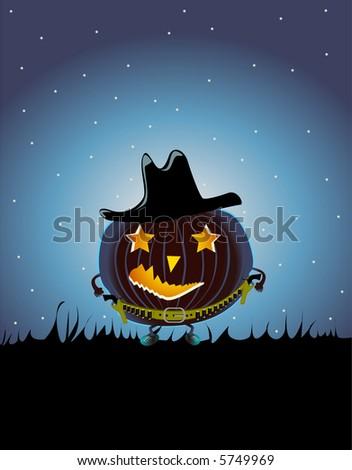 cowboy pumpkin   vector