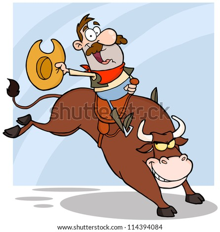 Cowboy Riding Bull In Rodeo. Vector Illustration