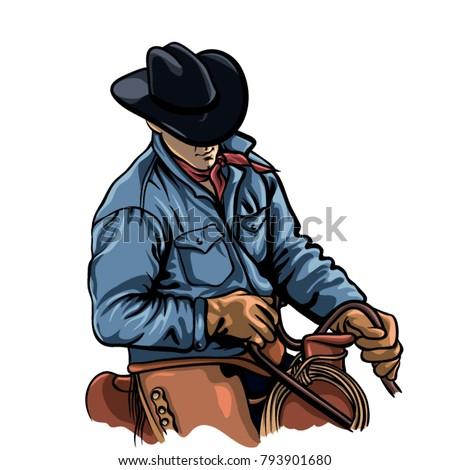 cowboy riding horse vector...