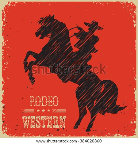 Cowboy riding wild horse.Western poster on red background for design #384020860