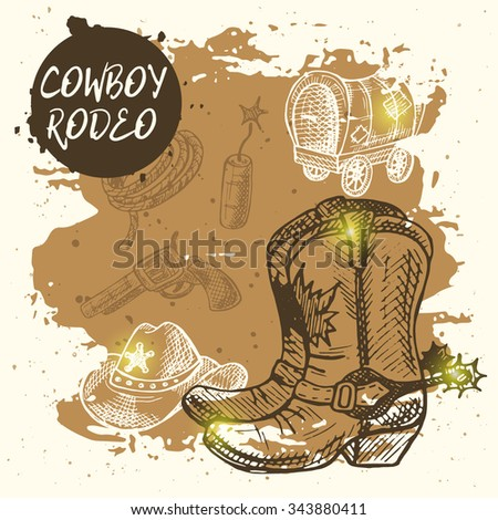 cowboy rodeo card. wild west...