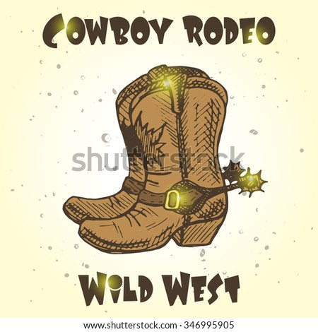cowboy rodeo card. wild west...
