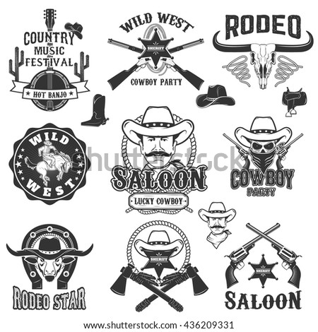 cowboy rodeo  wild west labels