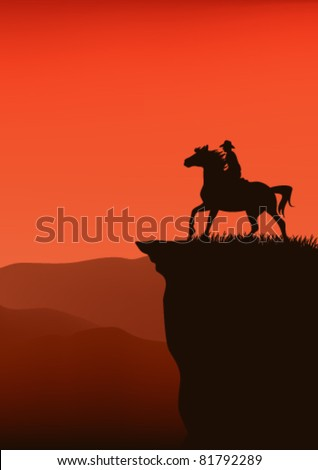 cowboy silhouette at sunset - vector illustration