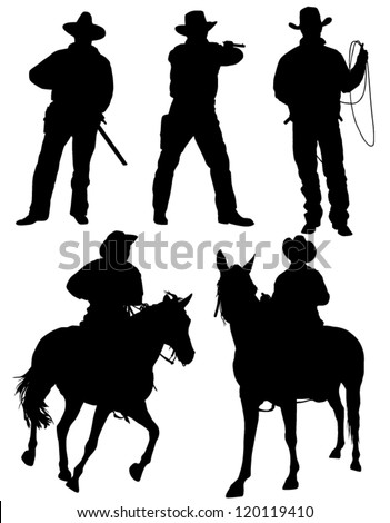 cowboy silhouette on white
