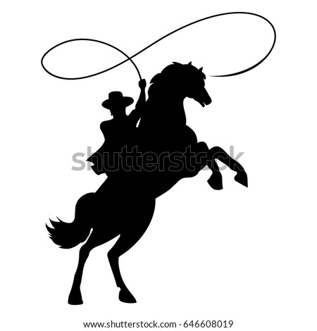 Cowboy silhouette with rope lasso on horse vector illustration isolated on white background for rodeo western design
