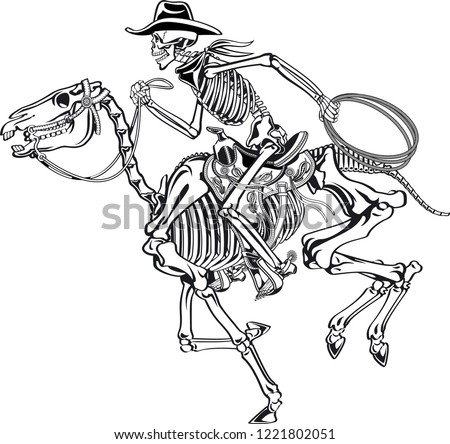 cowboy skeleton riding a