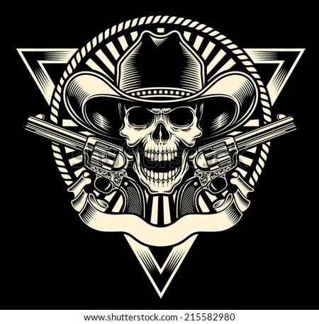 cowboy skull with revolver