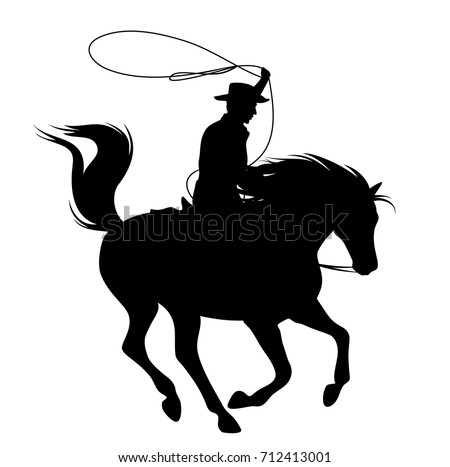 cowboy throwing lasso riding running horse - black vector silhouette over white