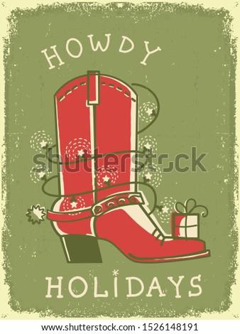 cowboy vintage christmas card