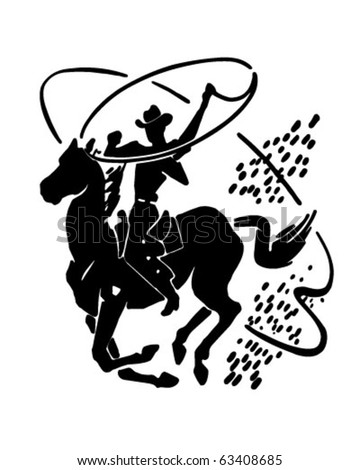 Cowboy With Lasso - Retro Clipart Illustration