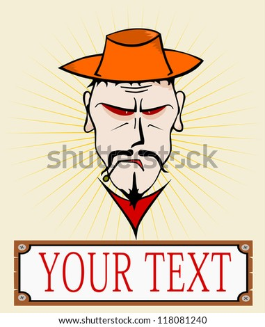 Cowboy. You can use the same head in the black-and-white variant. Without gradients. Place for any text.