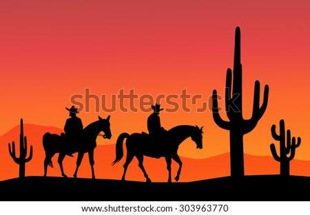 cowboys and cactus at evening