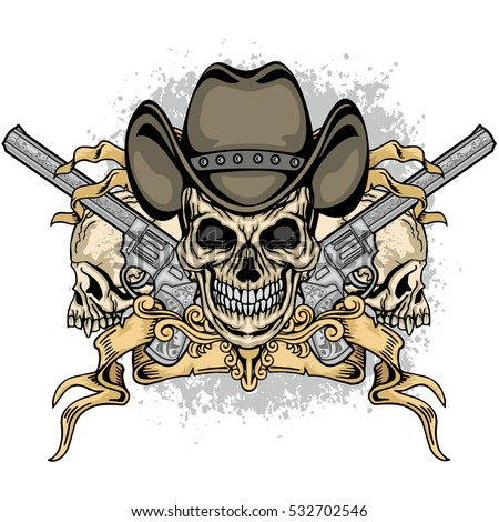 cowboys coat of arms with skull