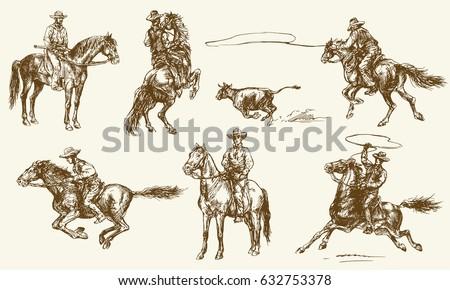 cowboys hand drawn set