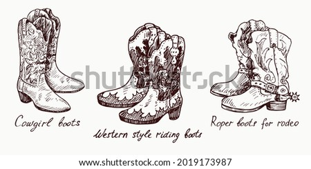 Cowgirl boots, Western style riding boots,Roper boots for rodeo, woodcutstyle ink drawing illustration with inscription Foto stock ©