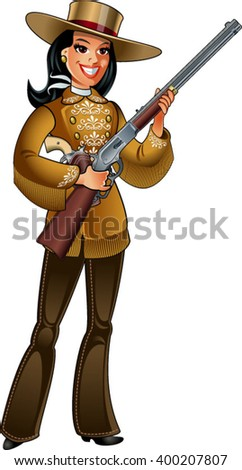 cowgirl in deerskin clothing