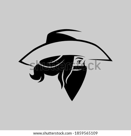 Cowgirl outlaw side view portrait symbol on gray backdrop. Design element Foto d'archivio ©
