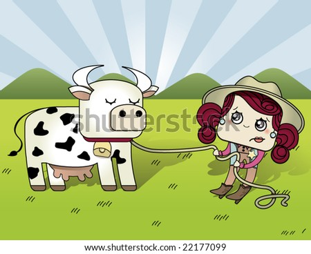 cowgirl pulling cow