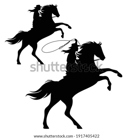 cowgirl riding a horse and