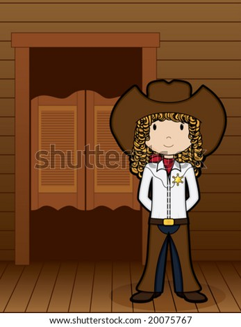 CowGirl standing in front of saloon - vector