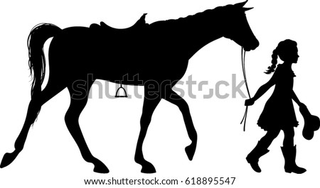 Cowgirl Walking Horse Silhouette - Vector Illustration