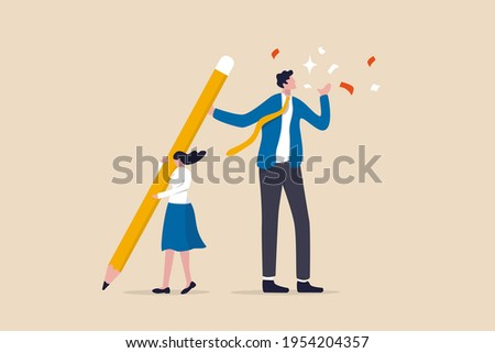 Coworker or boss takes credit of your work, dishonesty, stealing idea or plagiarism concept, young pity woman working hard holding big pencil with bigger businessman liar get reward from her work. Photo stock ©