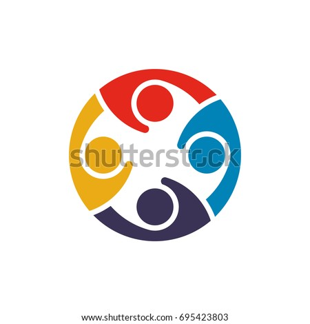 Coworkers in Conference Listen Each Other. Logo Template Concept