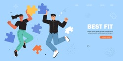 Coworking and business partnership concept. Business metaphor. People connecting puzzle elements or jigsaw pieces banner, landing web page, ui design. Symbol of teamwork, cooperation, partnership.
