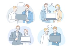 Coworking, brainstorming, teamwork, idea, business set concept. Teams of businesspeople clerks managers with laptops, meeting in office. Businessmen, women coworkers do teamwork. Brainstorming process